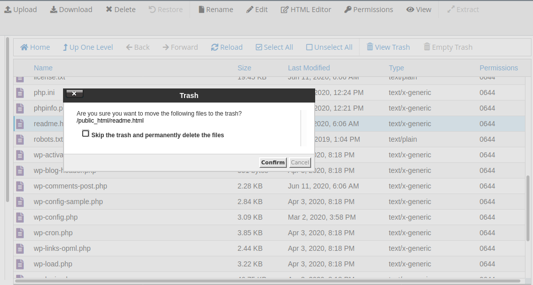 Delete file, directory in cpanel